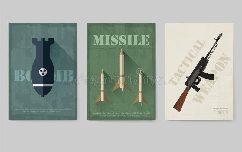 Карточки воинских карточек оборудования Шаблон flyear, кассеты армии, плакаты, концепция книги Детали сил специального назначения иллюстрация штока