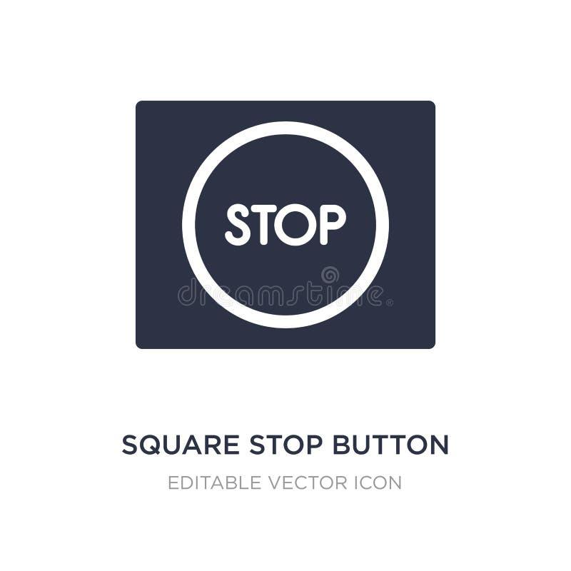 квадратный значок кнопки стоп на белой предпосылке Простая иллюстрация элемента от концепции UI бесплатная иллюстрация