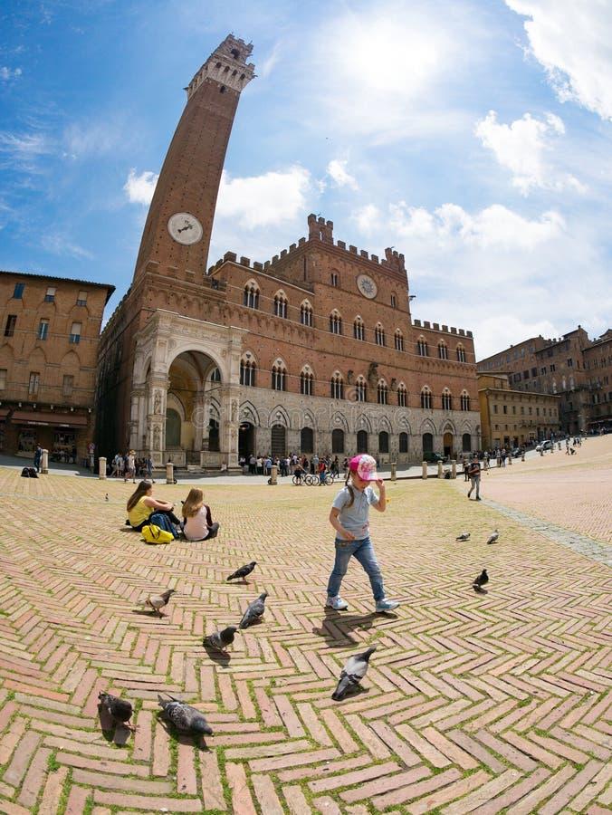 Квадрат и башня Campo в Сиене, Италии стоковое фото rf