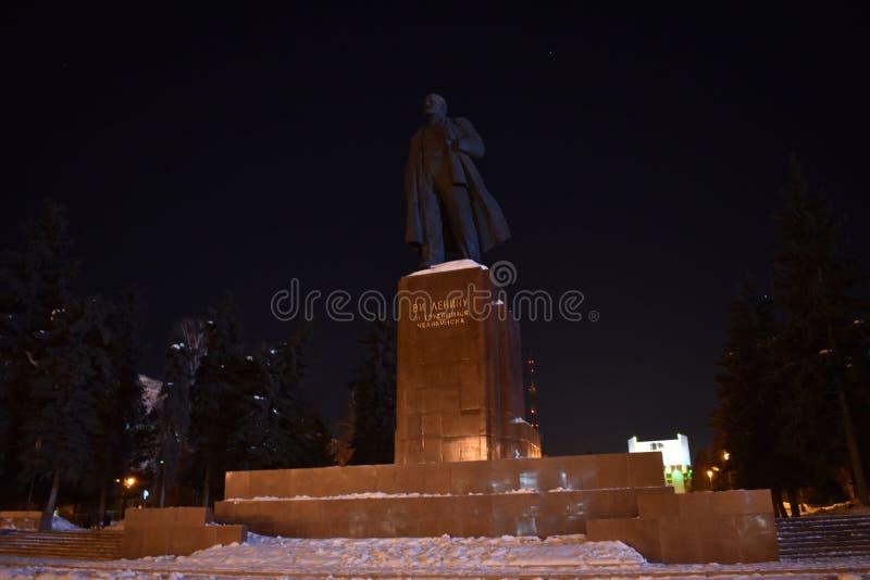 Квадрат революции вечером в Челябинске стоковая фотография