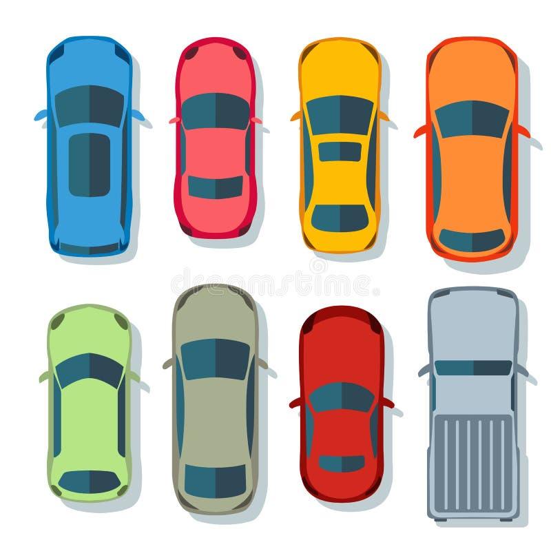 Квартира вектора взгляда сверху автомобилей Набор значков перехода корабля Автомобиль автомобиля для транспорта, автоматическая и иллюстрация вектора