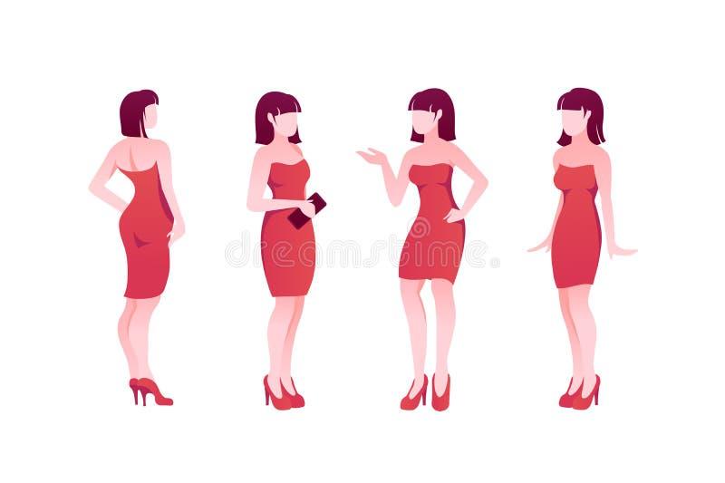 Квартира представляет установленный характер молодой женщины с красными платьем и ботинками иллюстрация вектора
