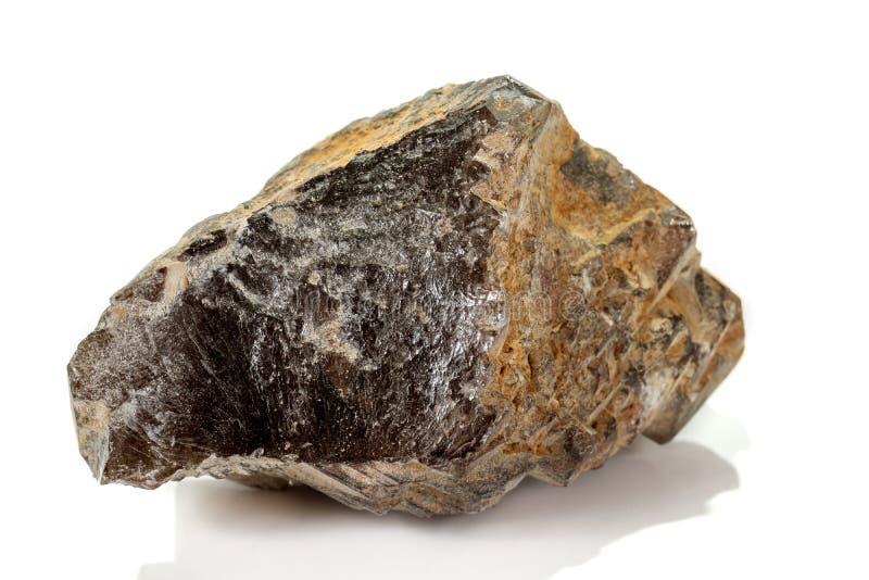 Кварц макроса минеральный каменный закоптелый, rauchtopaz на белой предпосылке стоковая фотография