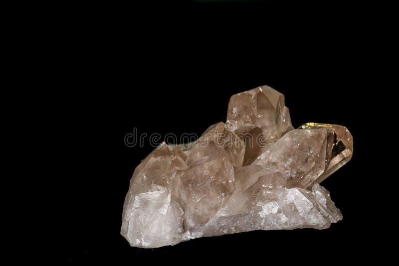 Кварц макроса минеральный каменный закоптелый, rauchtopaz на черной предпосылке стоковая фотография