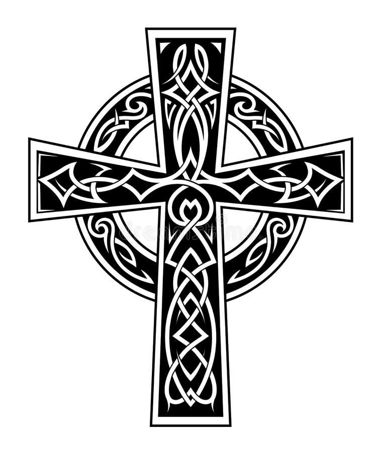 Кельтская татуировка креста стиля иллюстрация штока