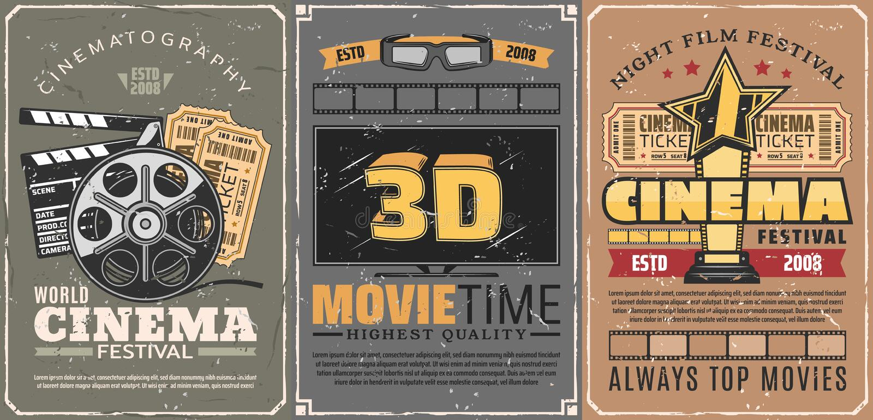 Кино или кинотеатр, фестиваль фильмов ночи бесплатная иллюстрация