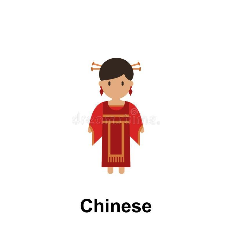 Китаец, значок мультфильма женщины Элемент людей значка цвета Наградной качественный значок графического дизайна подписывает симв иллюстрация штока