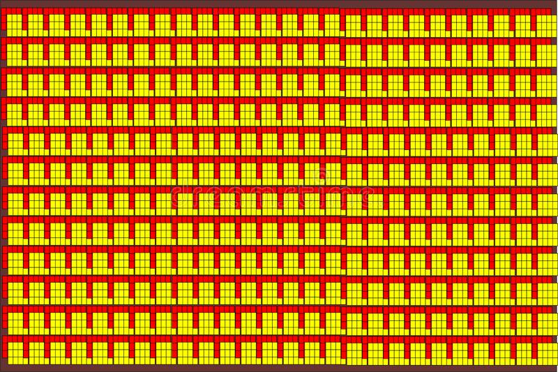 Кирпичи вектора конспекта желтые и красные на черной предпосылке иллюстрация штока