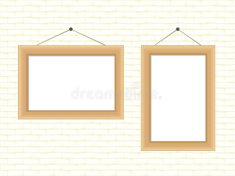 Realistic wooden frame for a photo or paintings hanging on a brick white wall stock illustration