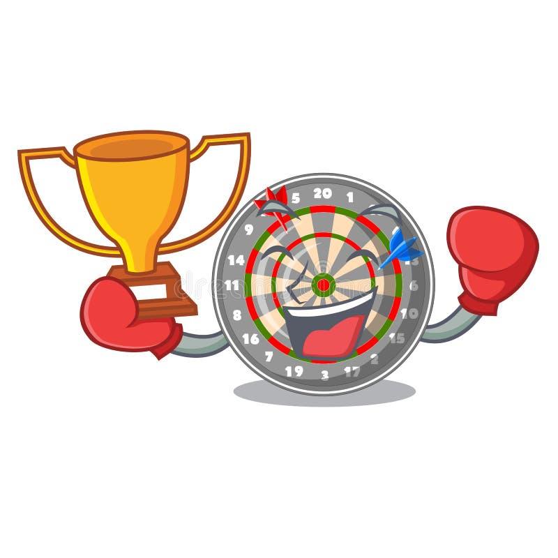 Кладя в коробку dartcoard мультфильма победителя рядом с деревянным столом бесплатная иллюстрация