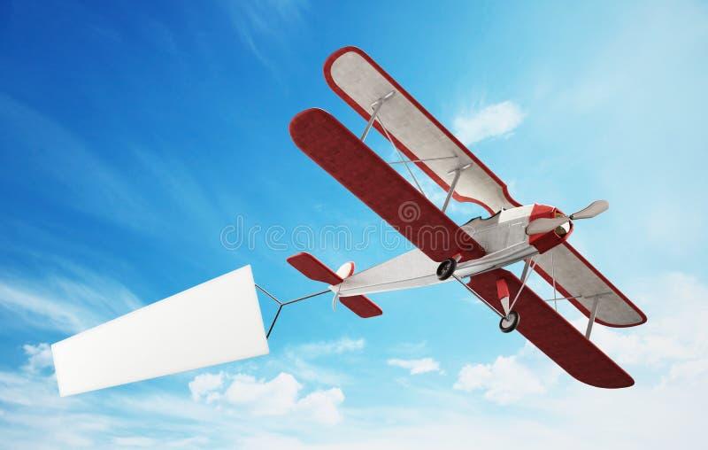 Классический самолет вытягивая пустое белое знамя текста иллюстрация 3d бесплатная иллюстрация