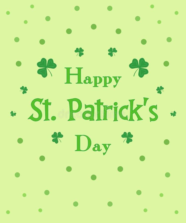Клевер поздравительной открытки зеленого цвета дня счастливого St. Patrick флористический иллюстрация вектора