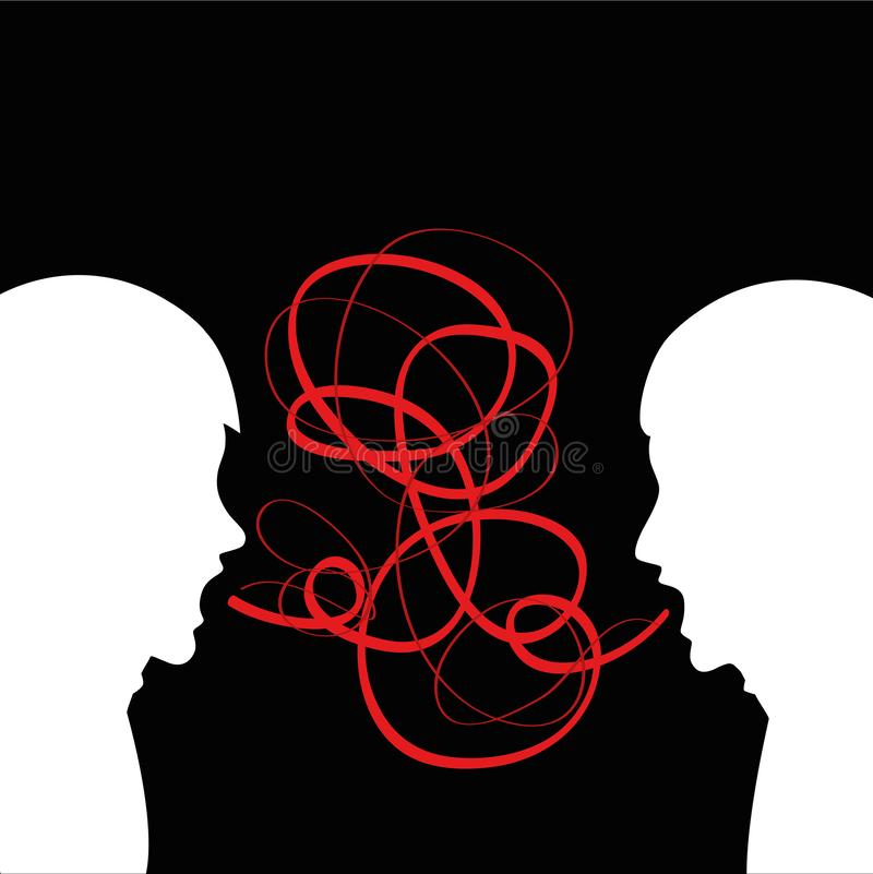 Клекот 2 людей громко и агрессивное иллюстрация вектора