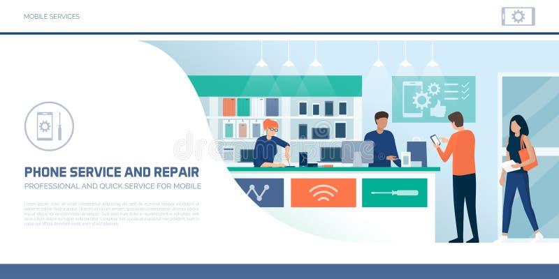 Клиенты ходя по магазинам в магазине ремонта телефона иллюстрация вектора