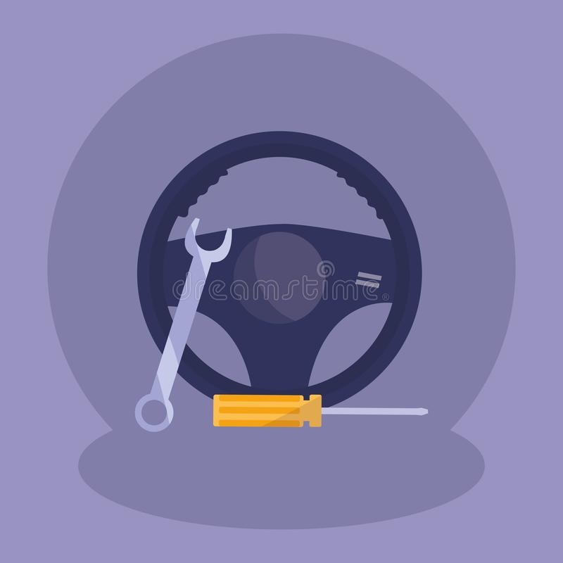 Ключ ключа и инструменты отвертки иллюстрация вектора
