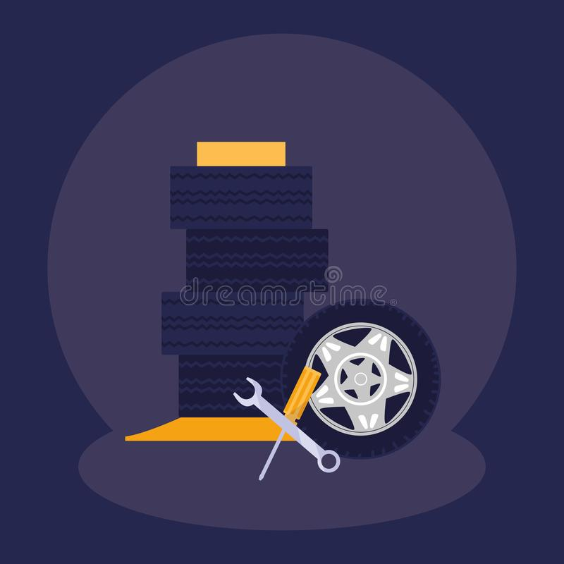 Ключ ключа и инструменты отвертки иллюстрация штока