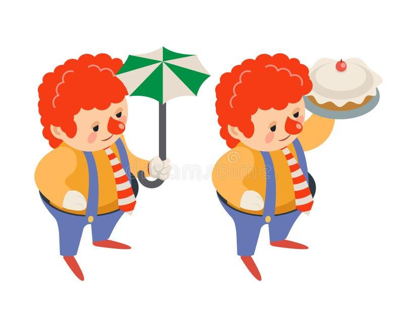 Клоуна масленицы потехи партии цирка зонтика значок характера представления пирога проказы хода торта равновеликого смешной изоли иллюстрация штока