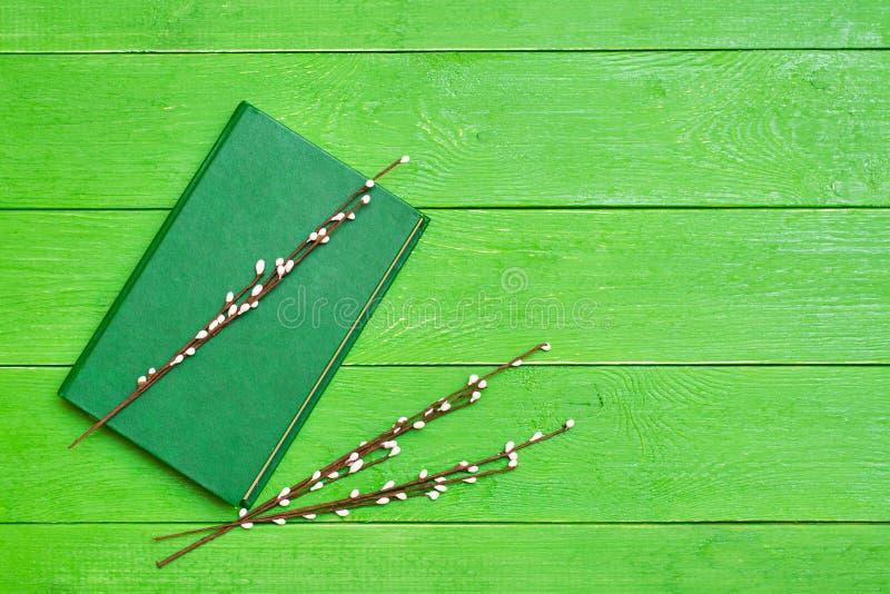 Книга в трудной зеленой крышке на зеленой деревянной предпосылке и ветвях вербы стоковое изображение