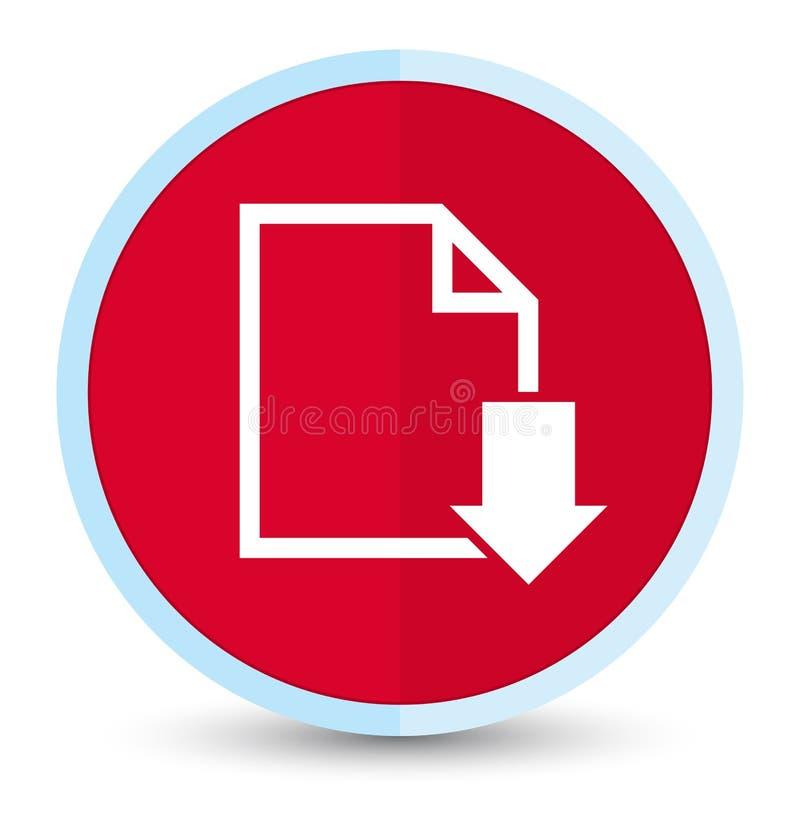 Кнопка значка документа загрузки плоская основная красная круглая бесплатная иллюстрация