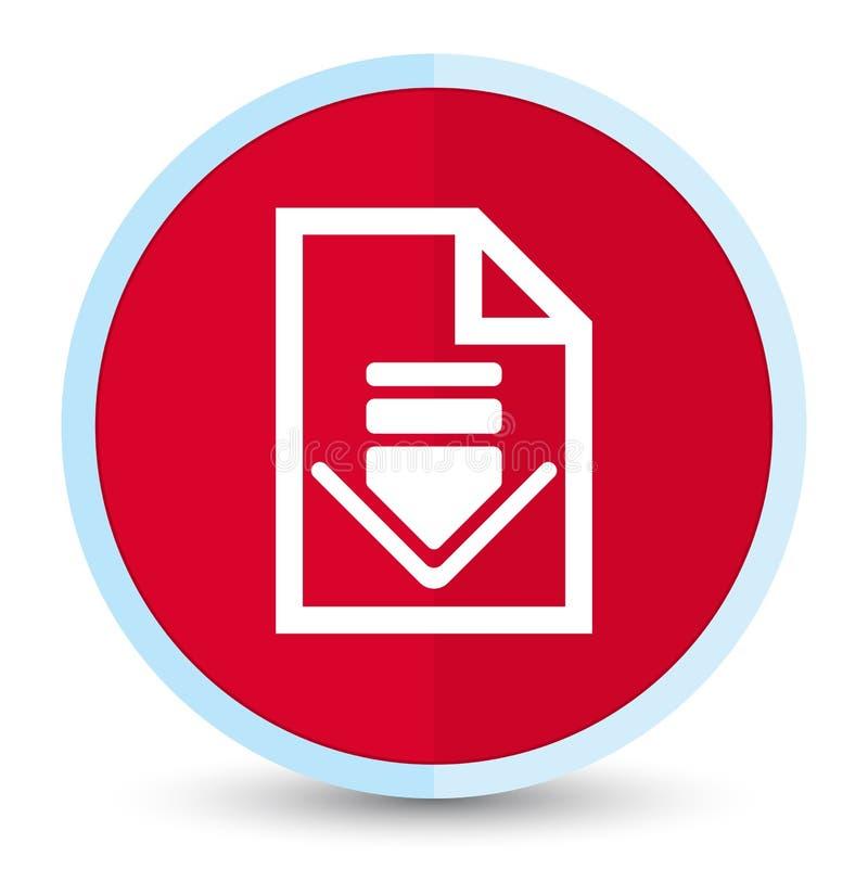 Кнопка значка документа загрузки плоская основная красная круглая иллюстрация штока