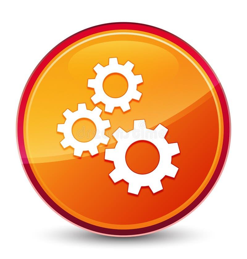 Кнопка значка шестерней особенная стекловидная оранжевая круглая иллюстрация штока