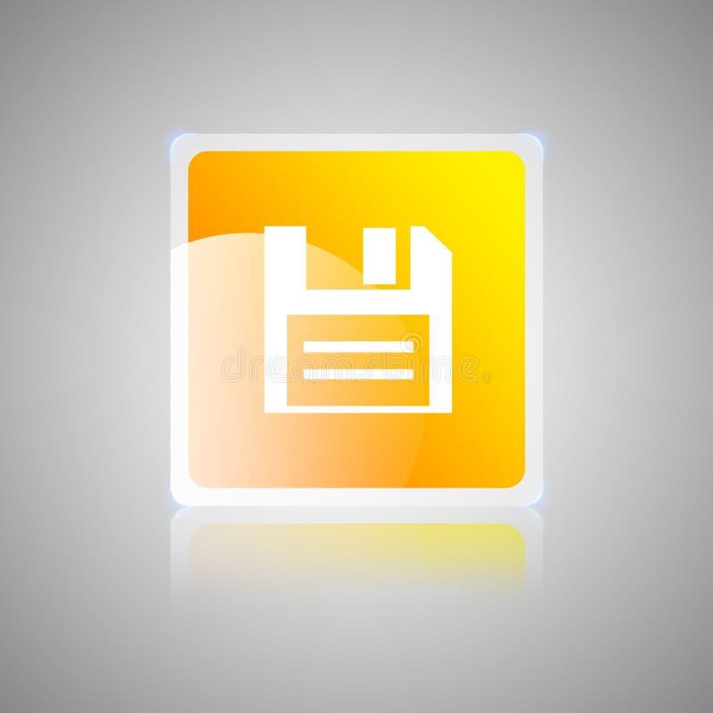 Кнопка диска оранжевая квадратная стекловидная иллюстрация штока