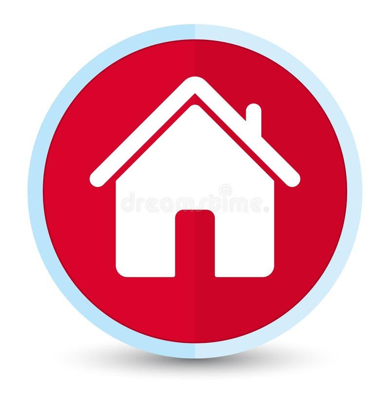 Кнопка домашнего значка плоская основная красная круглая иллюстрация штока