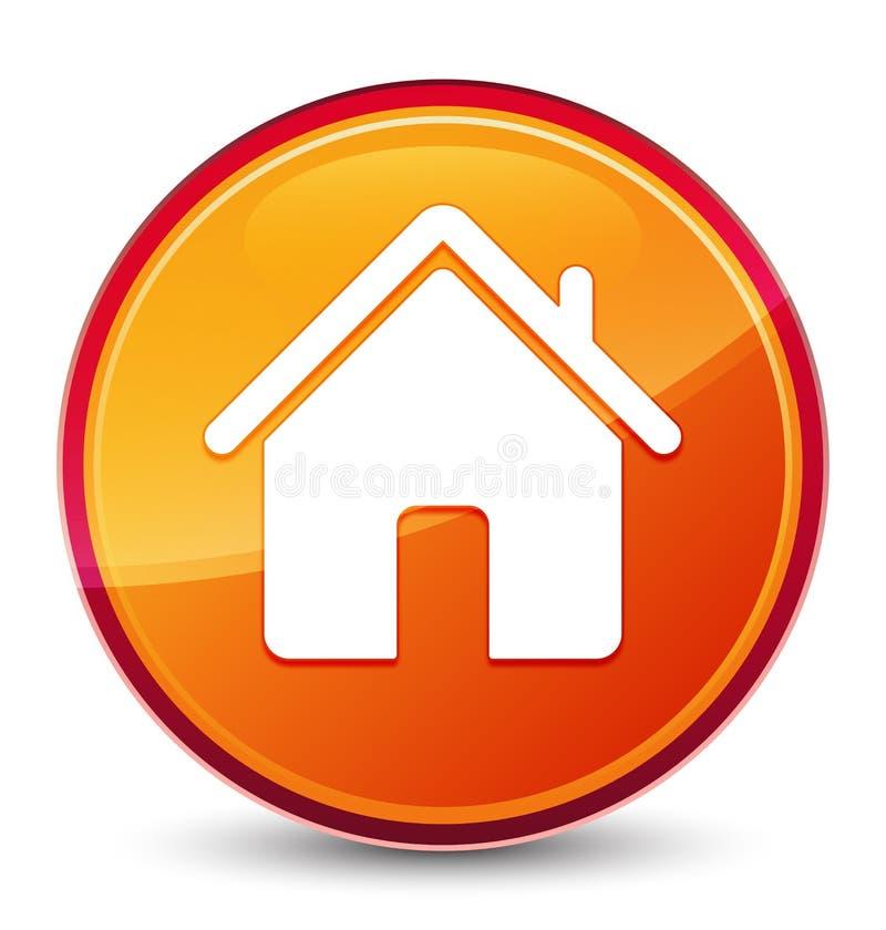 Кнопка домашнего значка особенная стекловидная оранжевая круглая иллюстрация вектора