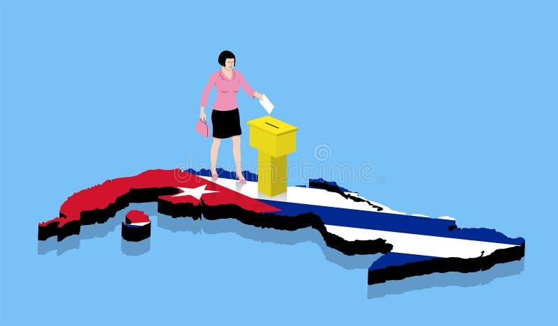 Кубинськая женщина голосует над картой Кубы как кубинський флаг иллюстрация вектора