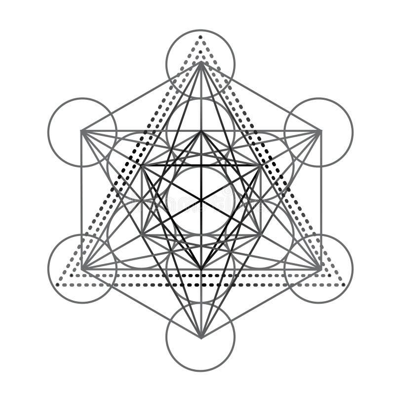 Куб Metatrons, цветок жизни, пер Иллюстрация хипстера вектора изолировала Этнический дизайн, boho, символ Книжка-раскраска для стоковое изображение rf