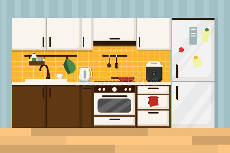 Flat kitchen interior with furniture,  brown and white stock illustration