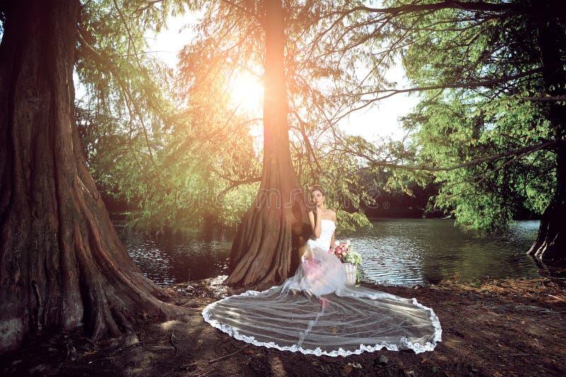 Красивая азиатская девушка в платье свадьбы показывая счастливые моменты стоковая фотография