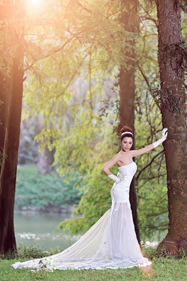 Красивая азиатская девушка в платье свадьбы показывая счастливые моменты стоковые изображения rf