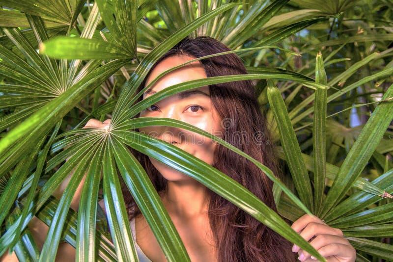 Красивая женщина прячет за листьями ладони Восточная забота красоты и кожи стоковые фотографии rf