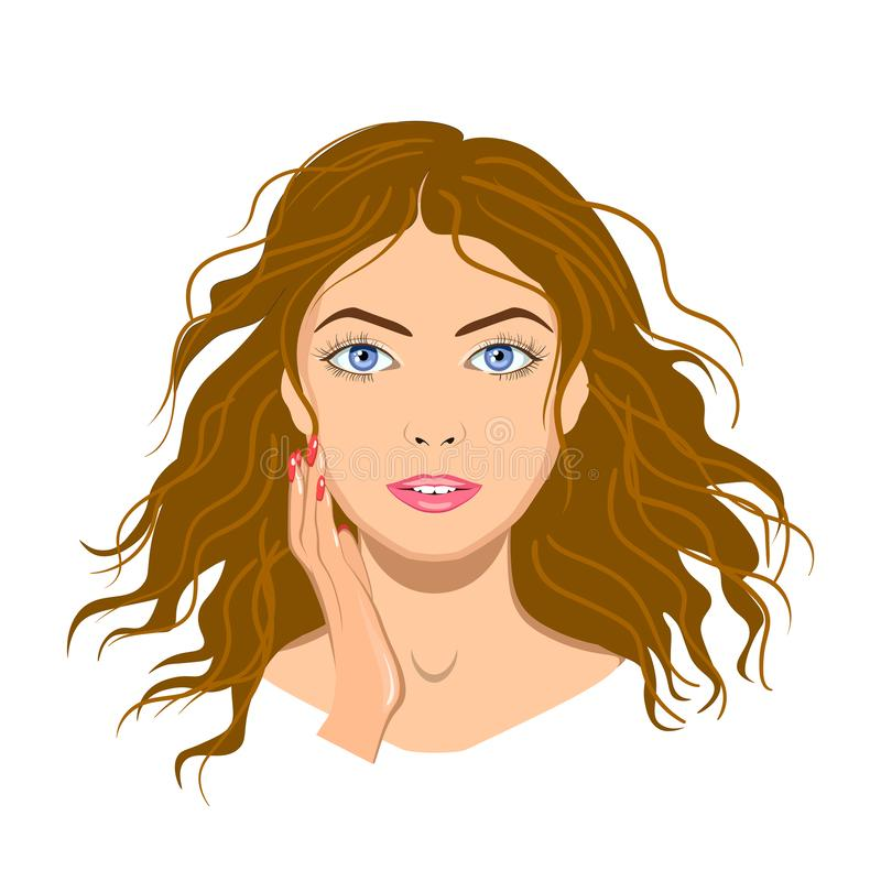 Красивая сторона женщины с изолированной рукой, иллюстрация вектора