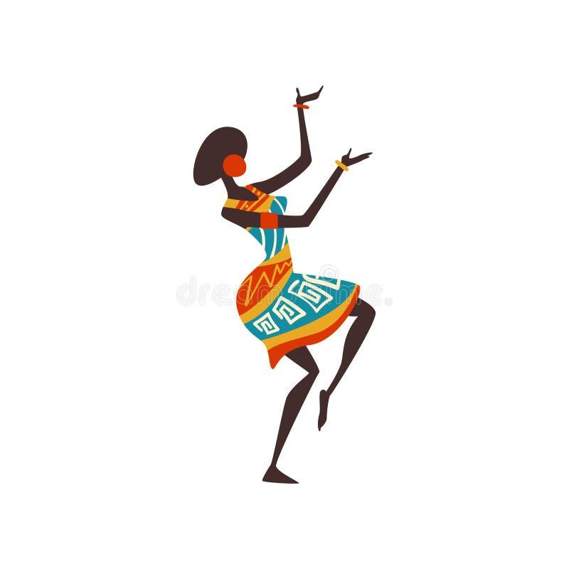 Красивые африканские танцы женщины, женский аборигенный танцор в яркой орнаментированной этнической иллюстрации вектора одежды бесплатная иллюстрация