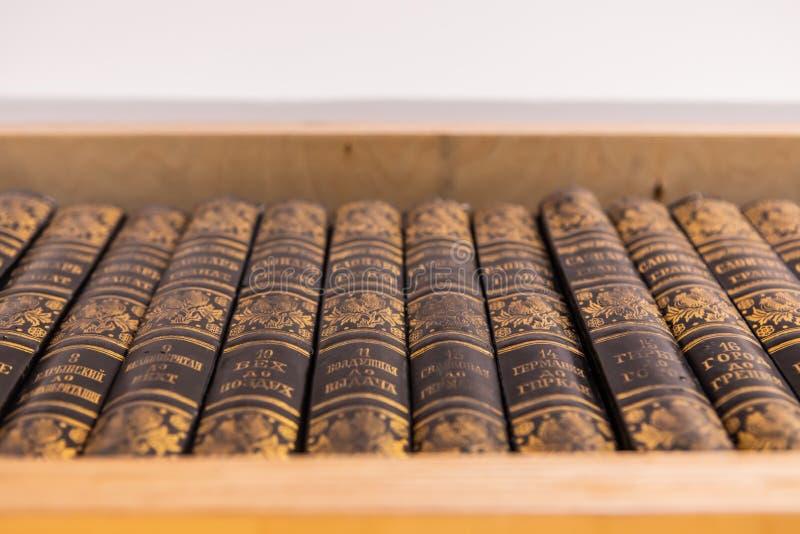 Красивые винтажные книги энциклопедии стоковая фотография