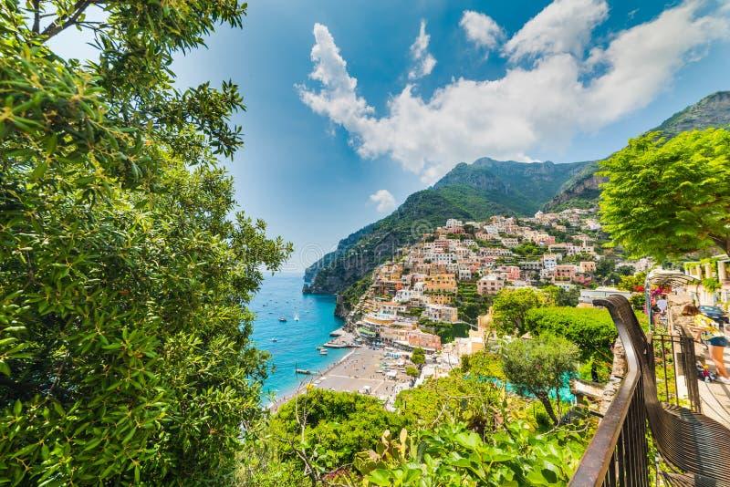 Красивый бечевник Positano в побережье Амальфи мира известном стоковые изображения
