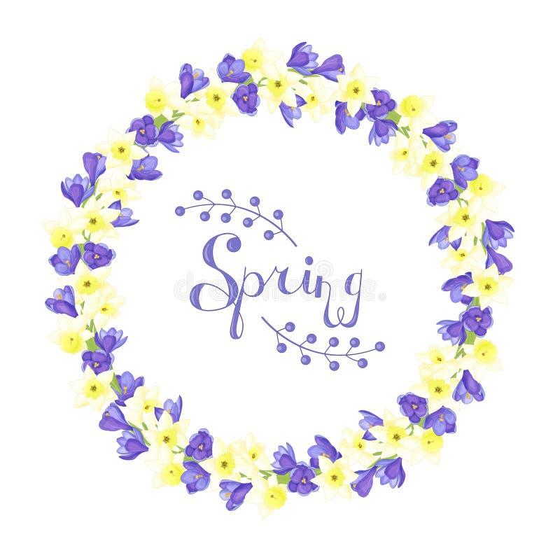 Красивый венок цветков весны иллюстрация вектора