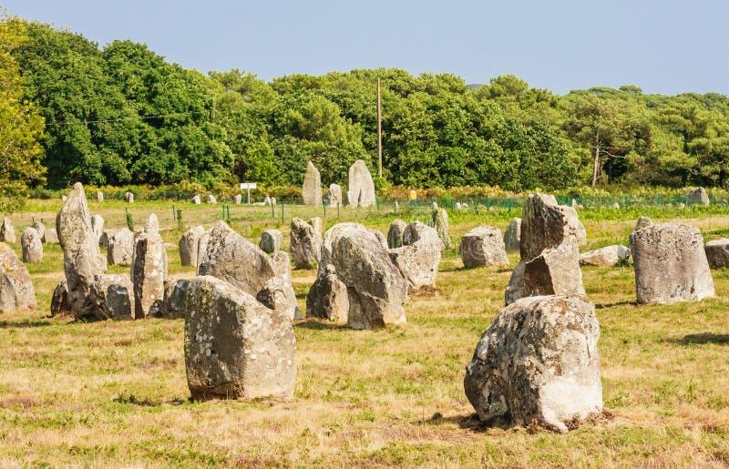 Красивый вид стоящих выравниваний камней, менгиров, в Carnac, Бретань, Франция Megalithic ориентир стоковое фото
