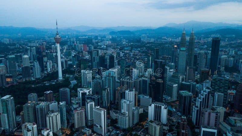 Красивый вид с воздуха горизонта Малайзии citiscape Куалаа-Лумпур стоковая фотография rf