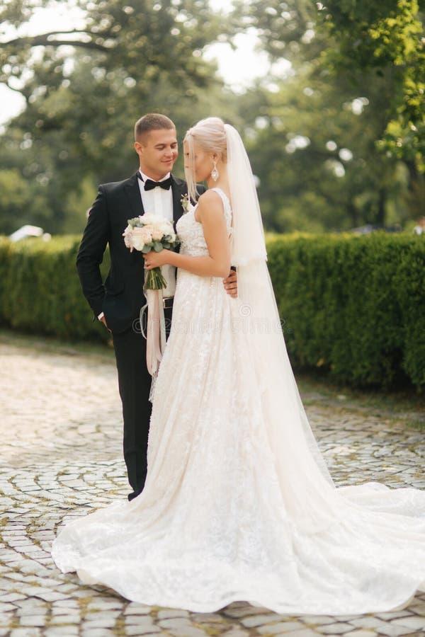Красивый выхольте объятие его красивая невеста гулять парка новобрачных фокуса мягкий Женщина светлых волос в элегантном платье с стоковое изображение rf
