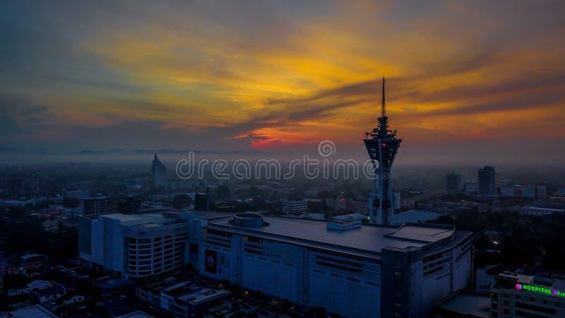 Красивый воздушный ландшафт Alor Setar Малайзии Самая известная башня Alor Setar в Малайзии стоковое фото