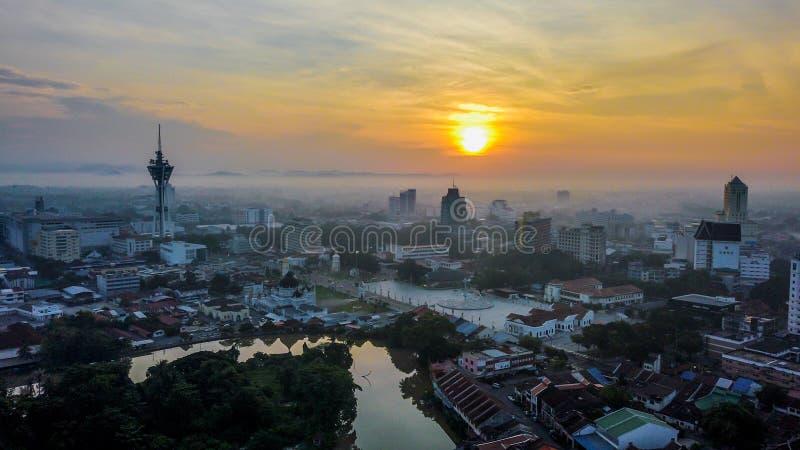Красивый воздушный ландшафт Alor Setar Малайзии Самая известная башня Alor Setar в Малайзии стоковые фото