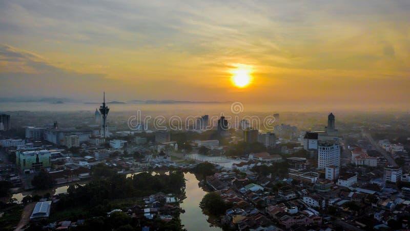 Красивый воздушный ландшафт Alor Setar Малайзии Самая известная башня Alor Setar в Малайзии стоковое изображение rf