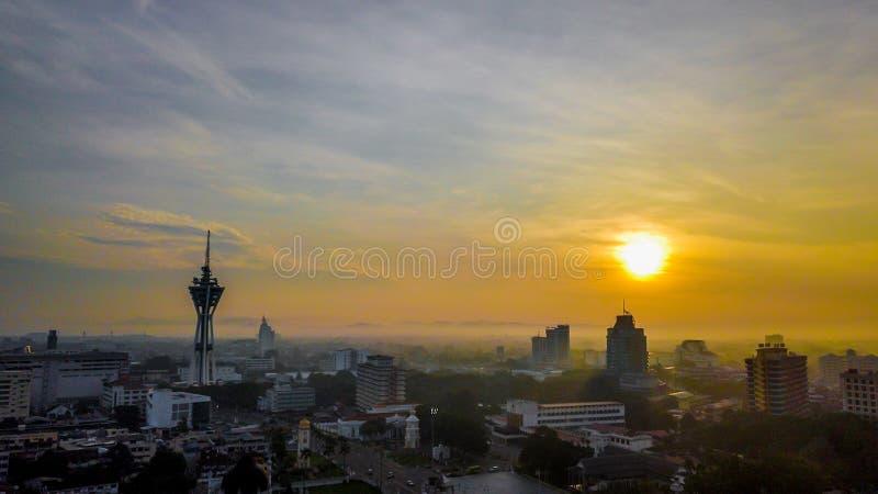 Красивый воздушный ландшафт Alor Setar Малайзии Самая известная башня Alor Setar в Малайзии стоковые фотографии rf