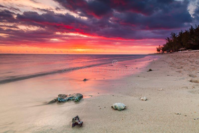 Красивый заход солнца на пляже в тропическом курорте на Острове Реюньон стоковая фотография rf