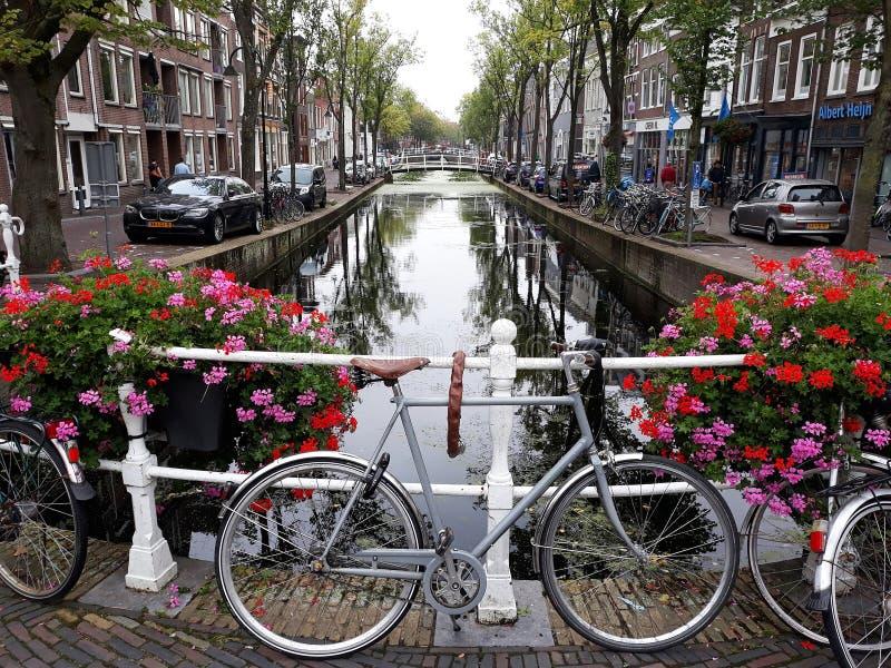 Красивый ландшафт старого городка Делфта с цветками, каналом и велосипедами стоковые изображения