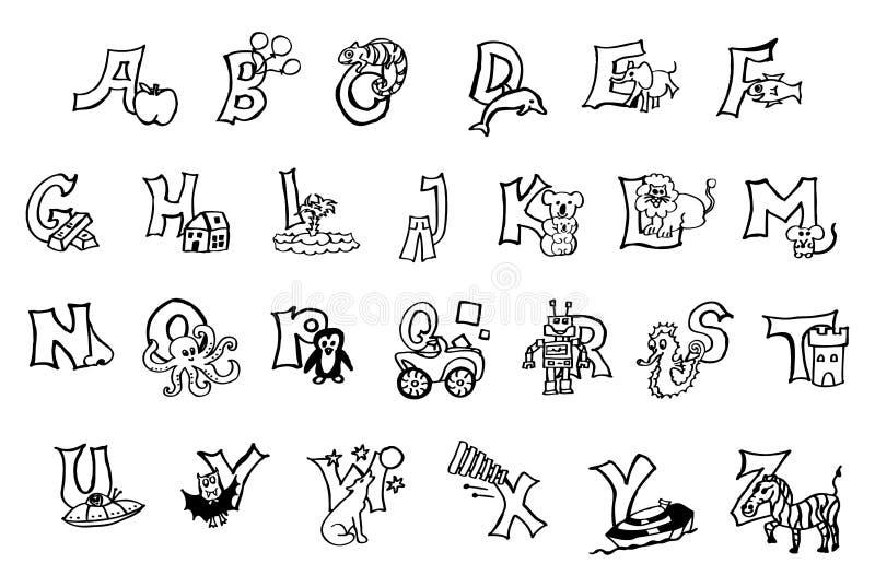 Красивый покрашенный вручную алфавит книжка-раскраски для детей со счастливыми изображениями и детей для того чтобы выучить письм стоковая фотография