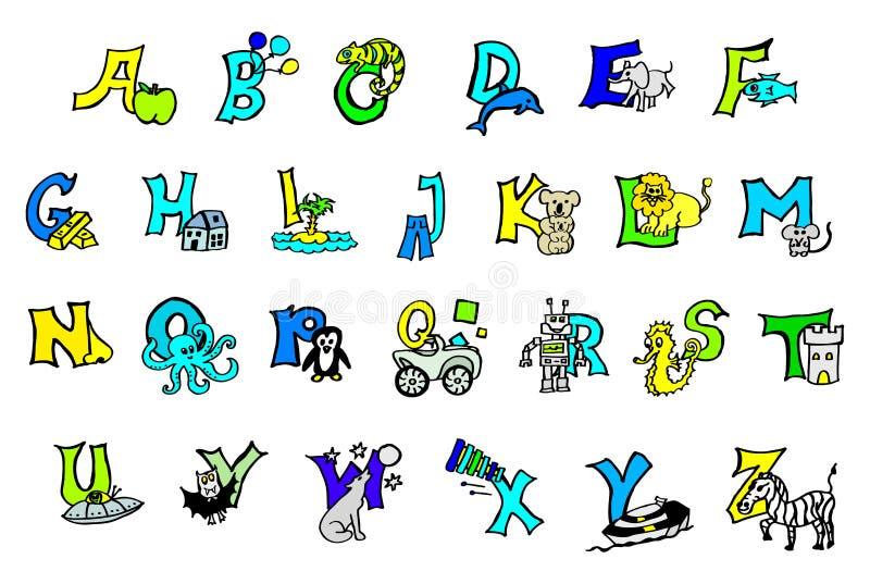 Красивый покрашенный вручную красочный алфавит для детей со счастливыми изображениями и детей для того чтобы выучить письма abc,  иллюстрация штока